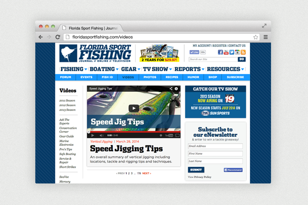 Florida Sport Fishing Magazine Content New Website Project
